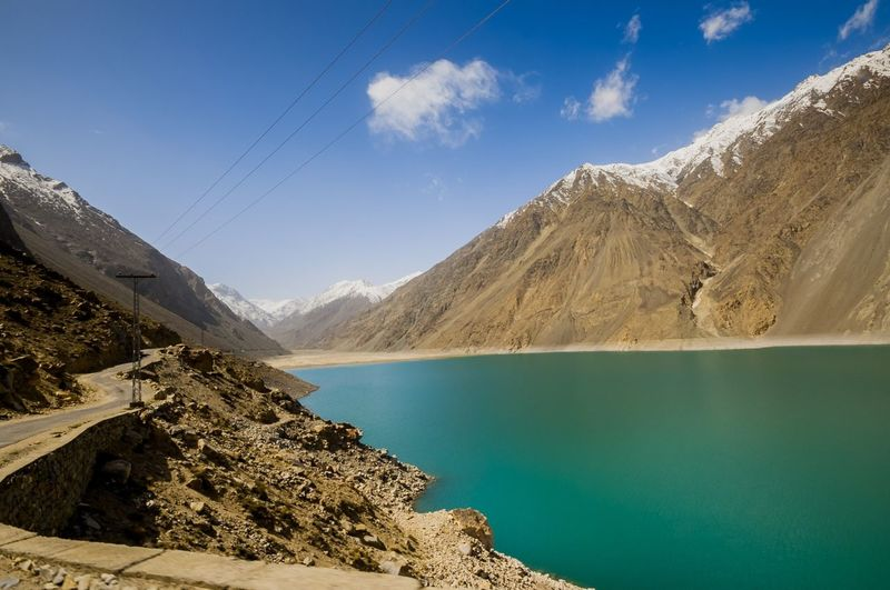 Satpara Lake,Skardu ,Gilgit and Baltistan, Pakistan Satpara Lake Skardu Pakistan Beauty In Nature Blue Cloud - Sky Day Fuel And Power Generation Lake Landscape Mountain Mountain Range Nature No People Outdoors Physical Geography Rocky Mountains Scenics Sky Tranquility Water