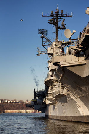 USS Intrepid Water Nautical Vessel Transportation Sky Nature Mode Of Transportation No People Architecture Navy Ship Outdoors Building Exterior Sea Waterfront Built Structure Military Day