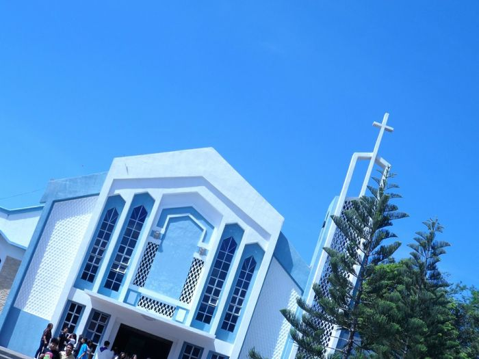 No Edit/no Filter Slanted Perspective Blue Sky Church Blue Wave