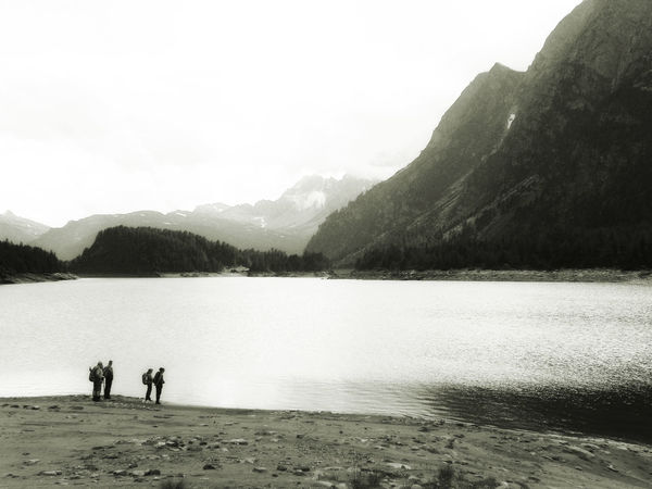 Contrast And Lights Piemonte Silhouettes Beauty In Nature Blackandwhite Bw Hiking Adventures Idyllic Lago Di Devero Lake Leisure Activity Mountain Mountain Range Nature Piemont Scenics - Nature Tranquil Scene Water