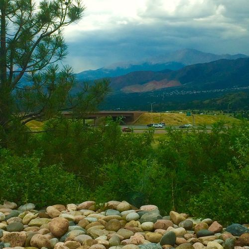 Pikes Peak Landscape Rock - Object Mountain Tranquil Scene Stone - Object Scenics Tranquility Beauty In Nature Green Color Nature Cloud - Sky Day Countryside Outdoors Growth Mountain Range Valley Sky Pikes Peak Colorado Springs Colorado Photography Colorado