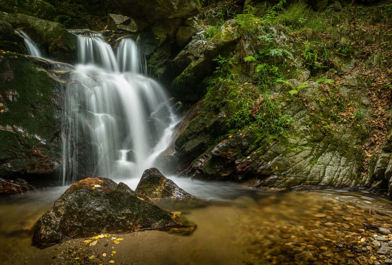 The smaller of the three waterfalls on Fotinovska river in the Rhodope mountain, Bulgaria. Rhodopes Beauty In Nature Bulgaria Day Forest Long Exposure Mountain Nature No People Outdoors Scenics Water Waterfall First Eyeem Photo