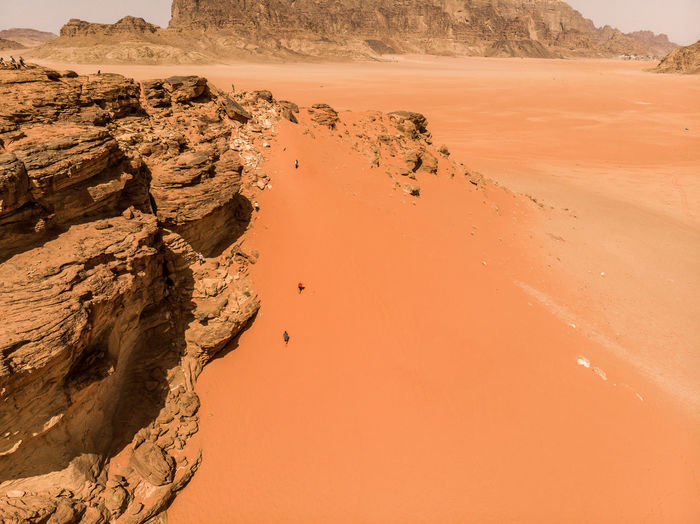 Aerial view of the lawrence spring in the jordanian desert near wadi rum