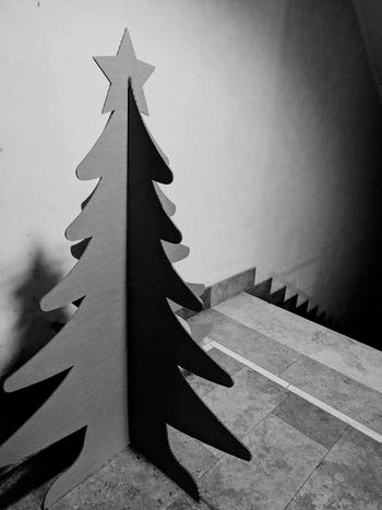 Star Shape Celebration Christmas No People Christmas Tree Christmastime Cartboard Stairs Indoors  Stairway Holiday Winter