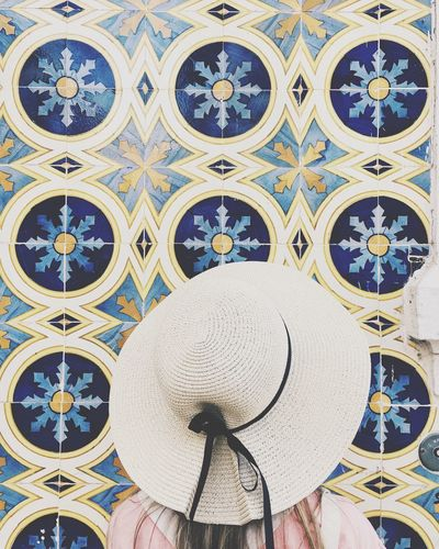 Circles Girl Vacation Hat Portugal Tiles Textures Tiles Pattern Art And Craft Built Structure Architecture Design No People Creativity Multi Colored Wall - Building Feature Floral Pattern