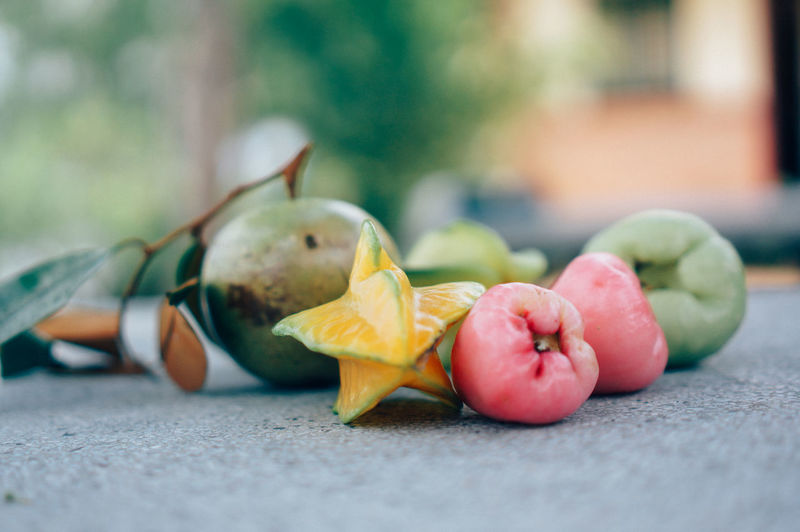 Close-Up Of Fruits On Bench