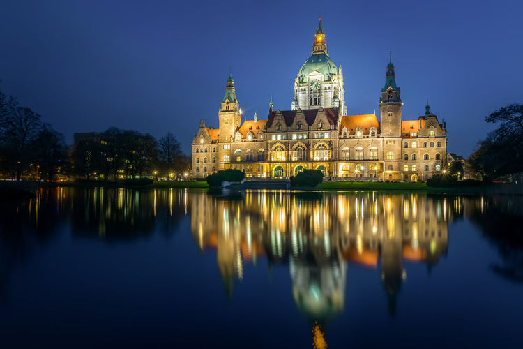 New town hall, Hannover Reflection Building Exterior Architecture Built Structure Water Illuminated City Travel Night Dusk Waterfront Sky Government No People Outdoors New Town Hall Neues Rathaus Hannover Hannover City Blue Sky Blue Hour Pond Reflection EyeEmNewHere Lower Saxony