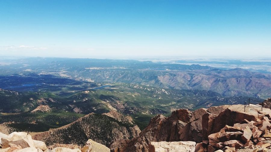 Colorado Cog Railway Breathtaking Pikes Peak Summit Pikes Peak In Colorado Sky Nature Day High Angle View Environment Mountain Beauty In Nature Outdoors