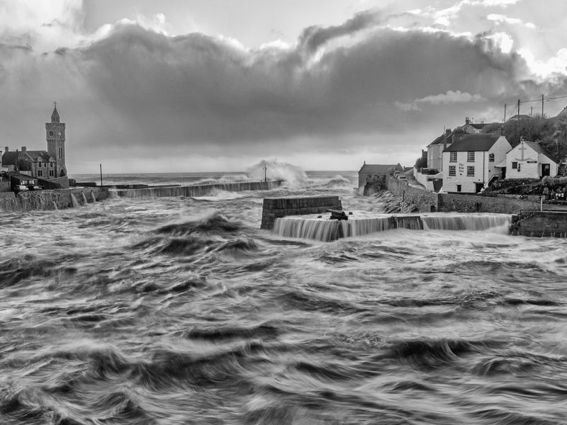 Beauty In Nature Black & White Cloud - Sky Coastline Cornwall Day Long Exposure Monochrome Photography Outdoors Porthleven Sea Stormy Weather Water Waterfront Wave First Eyeem Photo