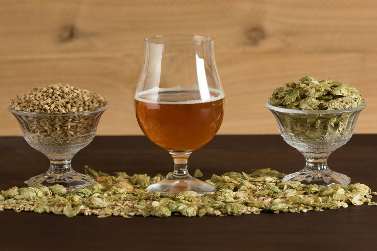 Glass Of Beer, Hops, And Malt On A Table