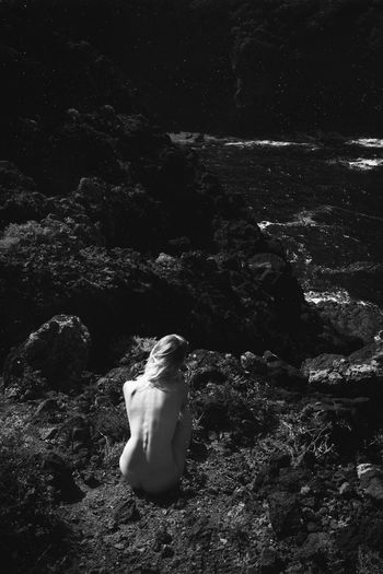 Volcanic View Black And White Tenerife Rocks Seaside Shore Coastline Naked_art Nude_model Blonde Girl Holidays Summer Vacation Wild Nature Linas Was Here