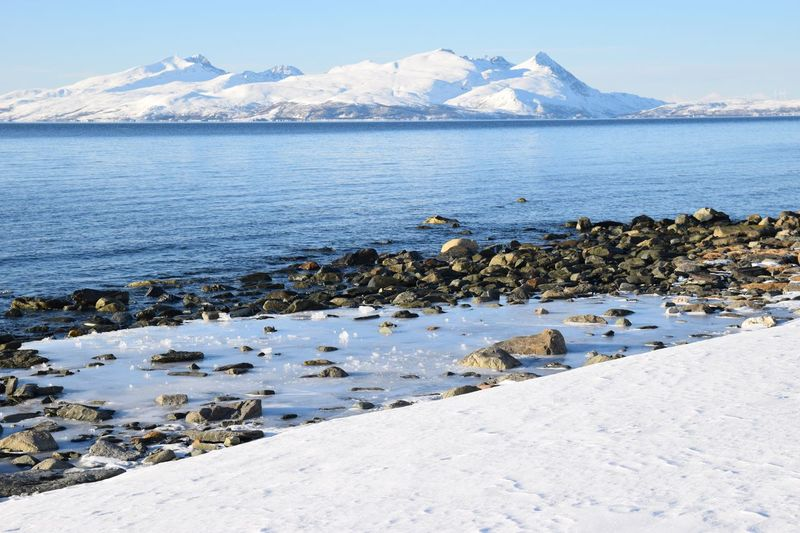 Scenic view of sea and snowcapped mountains