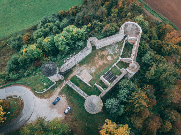 Tree Plant High Angle View Day Nature Aerial View Architecture Beauty In Nature No People Road Tranquility Tranquil Scene Transportation Scenics - Nature Outdoors Land Autumn Motor Vehicle Landscape Built Structure Castle Croatia