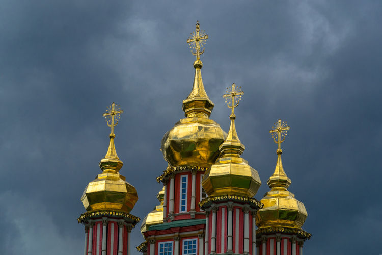 Architecture Day Dome Gilded Glittering Gold Gold Colored Low Angle View Moon No People Orthodoxy Outdoors Place Of Worship Religion Sky Spirituality Statue Travel