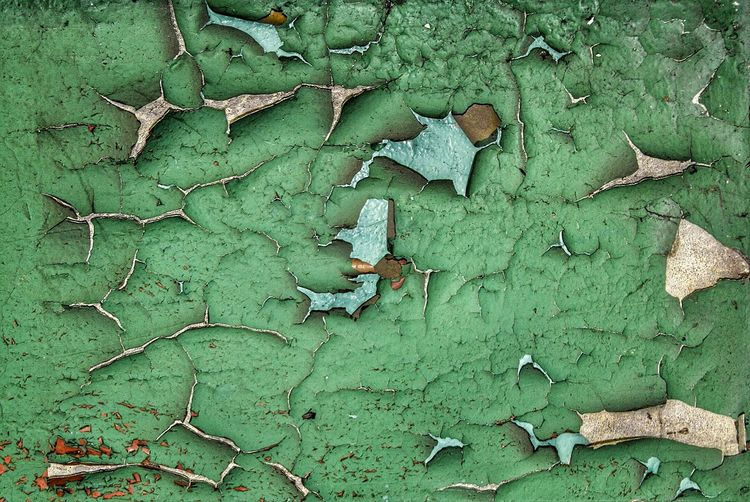 Full Frame Shot Of Weathered Green Wall
