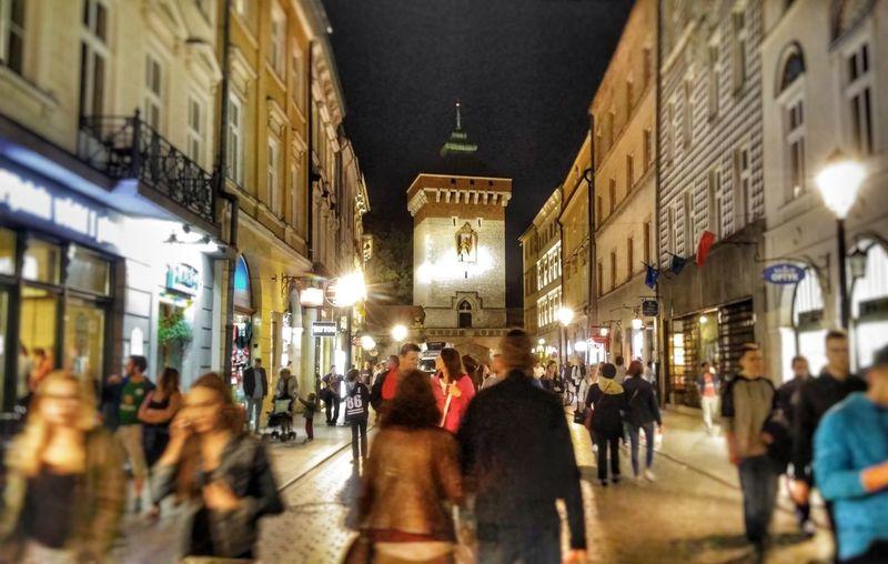 Architecture Illuminated City Street Street Large Group Of People Night City Kraków, Poland Krakównocą Florianska Ulica Ruch People Noc Cracovia