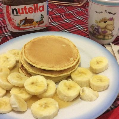 Pancakes Pancake Pancakeday Breakfast foodporn food instafood delicious yum foodie yummy nutella happy colazione pequenoalmoço bananas 🍮🍯🍌miele honey mel