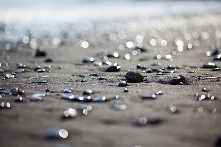 Surface Level Of Wet Pebbles At Beach