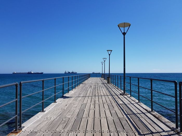 Cyprus Limassol EyeEm Selects Water Clear Sky Sea Blue Horizon Beach Pier Wood Paneling Jetty Sky Seascape Coast Horizon Over Water