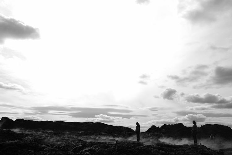 Black & White Mother And Son Silhouette Adventure Hiking Landscape Nature Real People Sky Tranquil Scene Two People Vulcanic Landscape Vulcano Island Women The Great Outdoors - 2018 EyeEm Awards