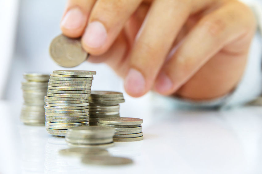 Hand put coin to stack, Making money concept Bank Banking Business Close-up Coin Currency Finance Financial Financial Item Human Body Part Human Hand Indoors  Invest Investing Investment Large Group Of Objects Money One Person People Savings Stack Wealth Wealthy
