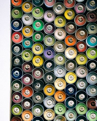 Eyeemphoto Spray Spraypaint Spraycans Pattern Repetition Repetitive Workshop Colors Colorful Painting Paint Artist Beautifully Organized