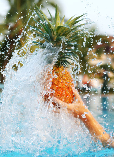 Close-up Day Food Fresh Fruit Motion Nature No People Outdoors Pineapple Splash Splashing Water The Great Outdoors - 2017 EyeEm Awards