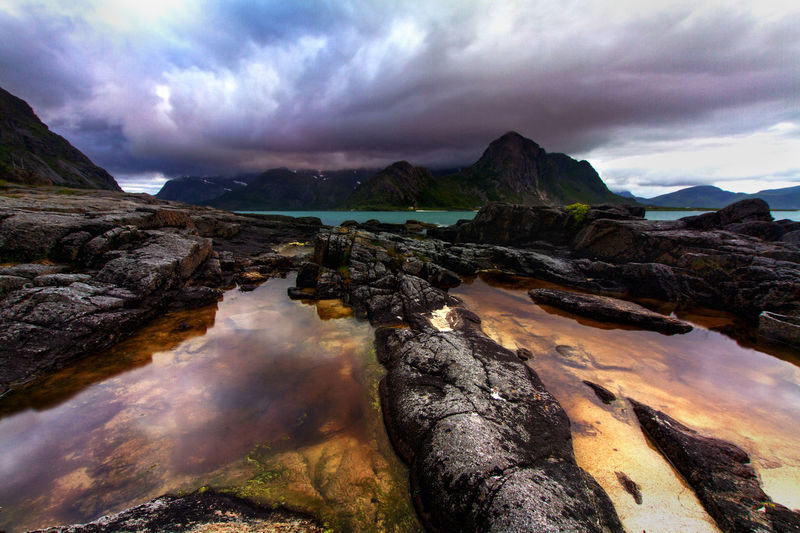 This picture was shot around 9pm on a rainy day in Northern Norway, Lofoten Norway Lofoten Islands Norway Beauty In Nature Cloud - Sky Day Lofoten Mountain Nature No People Outdoors Scenics Sky Tranquil Scene Tranquility Varese Water