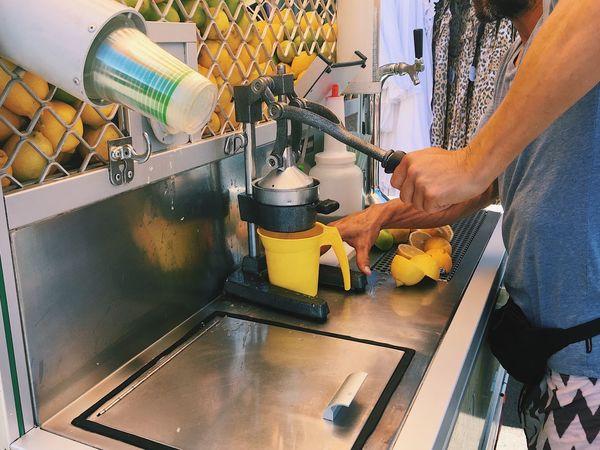 Midsection Pressing Juice Bar Freshness Fresh Fruit Lemonade Healthy Lemon Lime Citrus