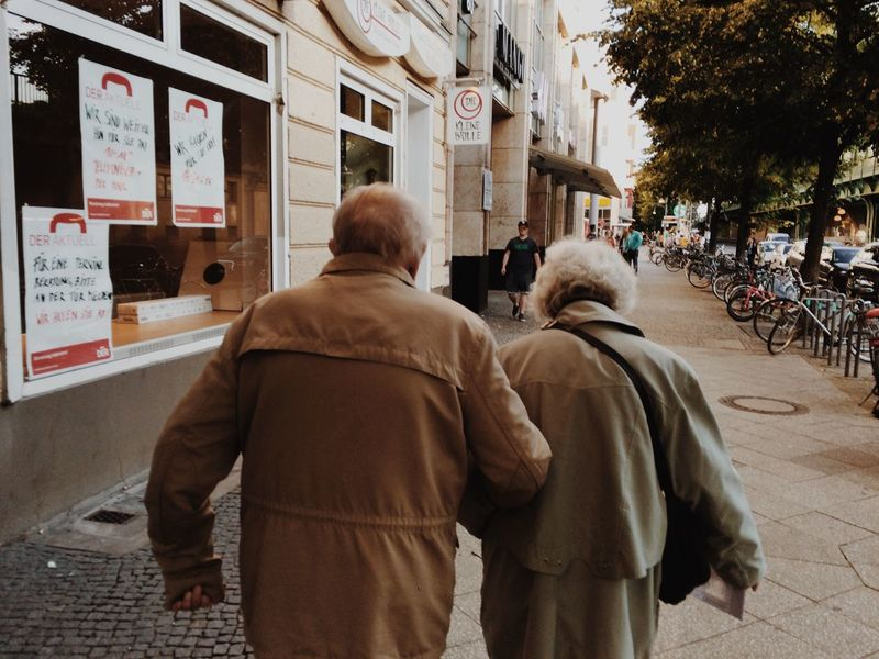 Belrin City Life City Street Couple Couples From The Back Lifestyles Old People People Street Photography Warm Clothing