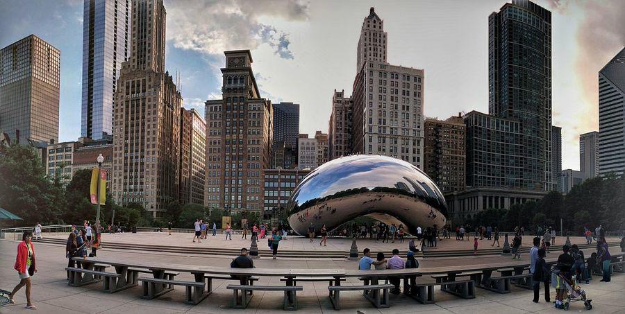 Panorama shot at Cloud Gate, Chicago Chicago Chicago Architecture Panorama Panoramic Panoramic Photography City Cityscapes Cityscape Cloud Gate Cloud Gate Chicago The Bean The Bean Chicago Sculpture Architecture Millenium Park