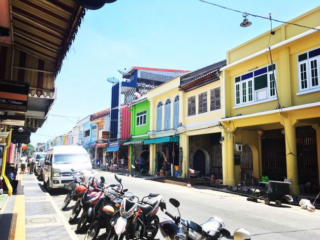 Phuket old city Building Exterior Architecture City Built Structure Outdoors Day Sky Phuket,Thailand Beauty In Nature Cityscape City Travel Travel Destinations Road Sunlight Street Phuket Old Town