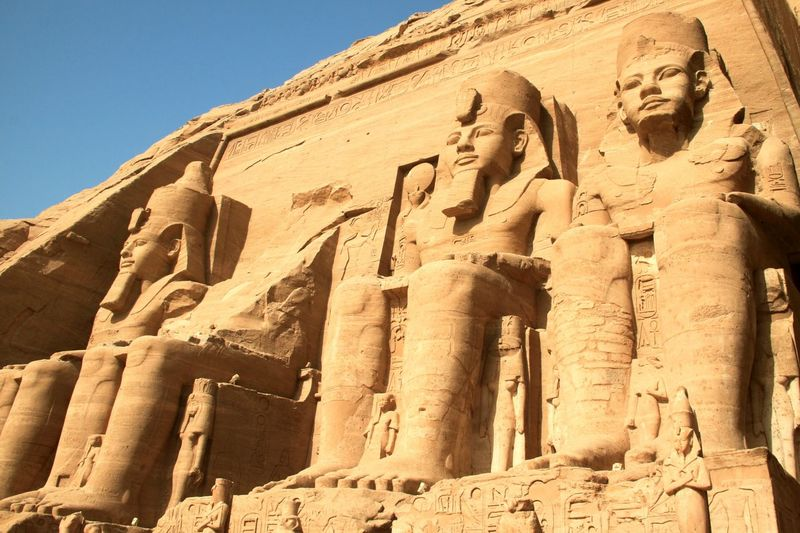 Low angle view of king sculptures at abu simbel temple