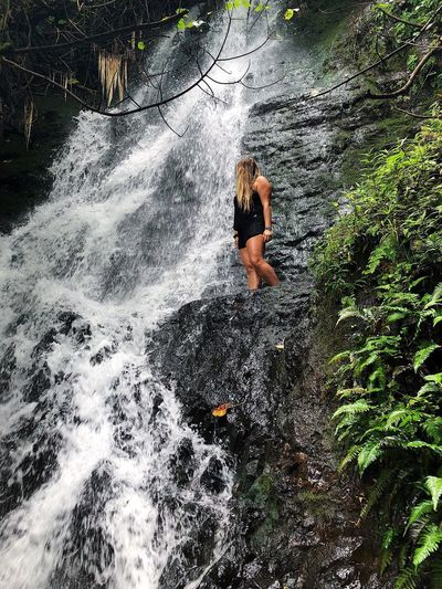 Likeke Falls EyeEmNewHere Aloha Mountains Oahu Hawaii College Hiking Hike Forest Waterfall Real People One Person Lifestyles Nature Day High Angle View Leisure Activity Land Water Women Outdoors Adult Standing Sunlight