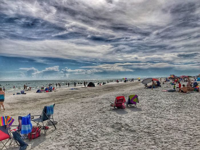 Nice and warm! Sea Beach Water Land Sky Sand Holiday Cloud - Sky Nature Crowd Vacations Trip Large Group Of People Horizon Over Water Group Of People Summer Chair Beauty In Nature Scenics - Nature Outdoors