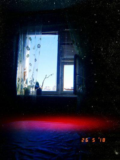Water Window Illuminated Close-up