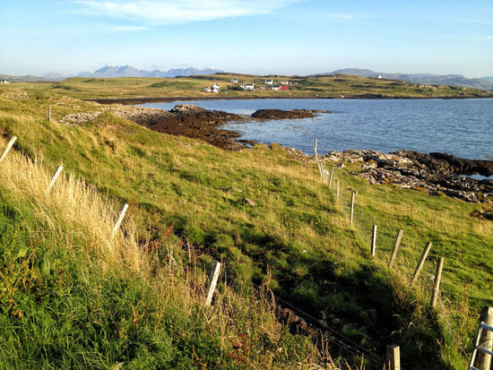 Looking across to the crofting village of Ullinish on the west coast of Skye Scotland Skye Grass Green Color Highlands Highlands Of Scotland Land Landscape No People Non-urban Scene Outdoors Tranquil Scene Tranquility Water
