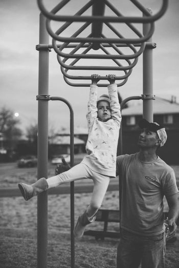Monkey bars Two People Casual Clothing Leisure Activity Looking At Camera Childhood Fun Portrait Real People Lifestyles Boys Outdoors Playground Monkey Bars Son Jungle Gym Outdoor Play Equipment Togetherness Sky Smiling Day
