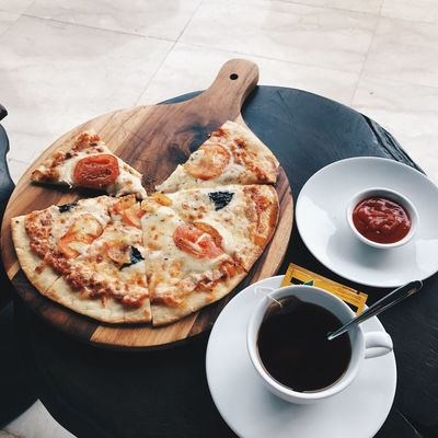 Pizz-of-me Food And Drink Coffee Cup Food Freshness Ready-to-eat High Angle View Plate Serving Size Indoors  Table Drink No People Day Close-up Refreshment