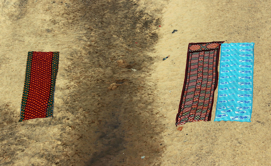 Aerial Shot Aerial View Beach Blue Cloths Day Indian Culture  Indianstories No People River View Riverside Riverside Photography Saare Sand Satish Photography Washing Clothes