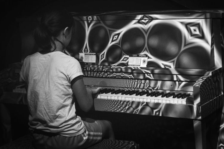 My daughter paying the piano her favorite thing to do! Music Indoors  One Person Blackandwhite Black And White Photography Daughter Piano Florida Orlando