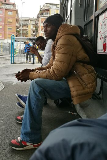 Sitting City Side View Men People Outdoors Italy🇮🇹 Tiburtina Rome Bus Station Building Exterior Bus Station Bus Transportation