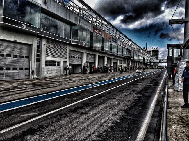 After the Rain in the Pitlane Nurburgring Racing Pitlane Motorsport Transportation Sky Cloud - Sky Outdoors