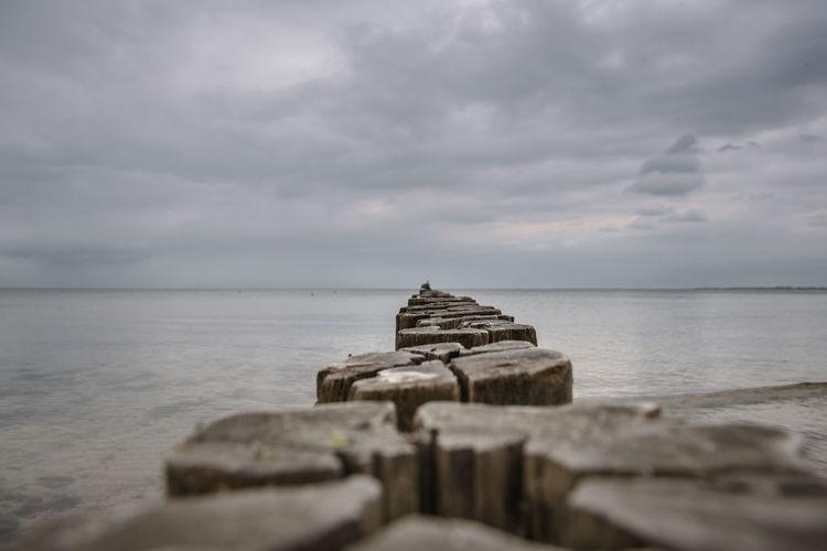 Groyne By Sea Against Sky