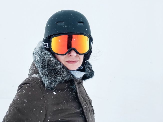 Outer space reloaded... White Background White Snow Cold Temperature Skiing One Person Leisure Activity Lifestyles Real People Portrait Young Adult Day Smiling Looking At Camera Headwear Outdoors Warm Clothing Close-up