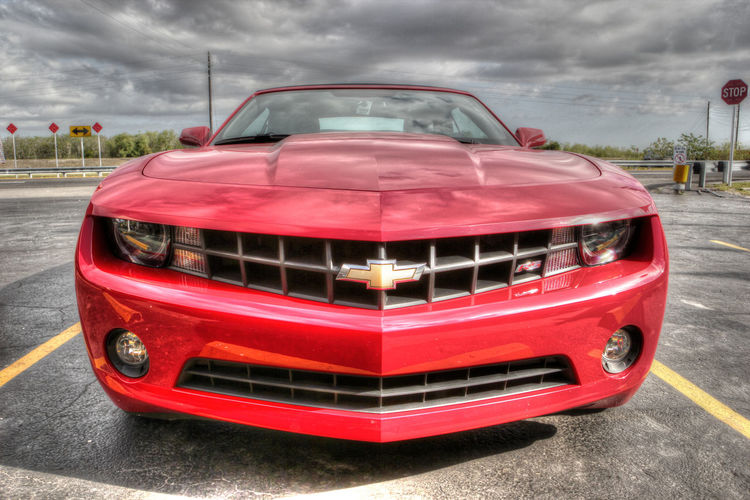 Absence Car Chevrolet Chevrolet Camaro Close Up Close-up Composition Connection Day HDR Headlight Land Vehicle Mode Of Transport No People Old-fashioned Perspective Red Rs Shiny Sky Sky And Clouds Speed Stationary Transportation Vintage