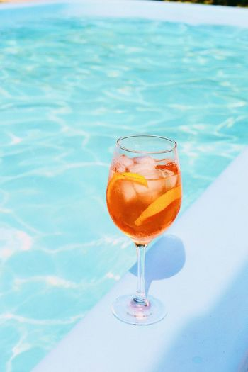 Close-Up Of Drink At Poolside