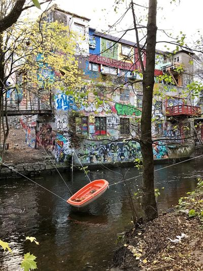 Hausmania Akerselva Canal Water Built Structure Day Building Exterior Architecture Moored Outdoors
