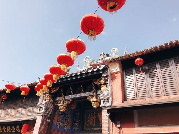 Low Angle View Architecture Chinese Lantern Built Structure Celebration Building Exterior Lantern