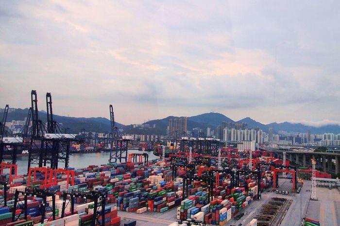 Hong Kong Commercial Dock Terminal Bus View Harbour Highway View Transportation Logistik